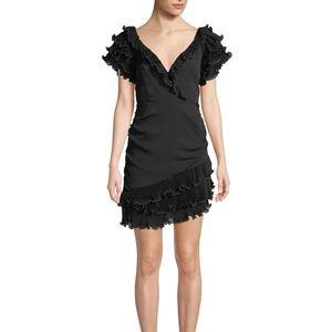 Saylor V-Neck Ruffle-Sleeve Mini Dress